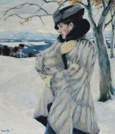 """Girl with Fur Coat"" -- by Cucuel Edward (American, 1875-1954) **"
