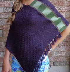 Upcycled Green and Purple Poncho Shawl by SewFreshAgain on Etsy, $44.95
