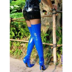Occident Sex Boots Women's Metal High Heels Stiletto Over-The-Knee Boots Chic Thigh High Boots Heels, Stiletto Boots, Black High Heels, Heeled Boots, Women's Heels, Black Shoes, Shiny Boots, Blue Boots, Sexy Stiefel