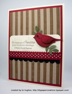 StampinUp bird punch using stamped image. Another elegant card by demonstrator Mary Fish.