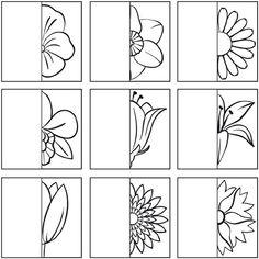 * Teken de andere helft van de bloem...