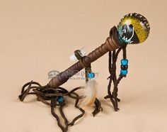 "Hand Painted Navajo Rawhide Rattle 7"""" -Black Buffalo (r403)"