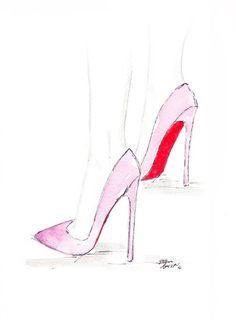 Watercolour Fashion illustration Titled Pink by FallintoLondon