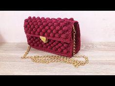 YouTube Crochet Handbags, Crochet Purses, Crochet Doilies, Love Crochet, Knit Crochet, Knitting Patterns, Crochet Patterns, T Shirt Yarn, Diy Canvas