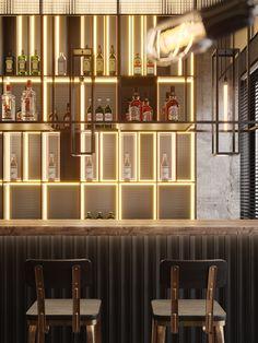 """Contemporary Bar in Almaty"" by Studio: Roman Sinitsa / - Designer / Architect: ATO studio & Forms Architects Restaurant Vintage, Design Bar Restaurant, Bar Interior Design, Cafe Design, Design Design, Bistro Design, Showroom Design, Bar Lounge, Studio House"