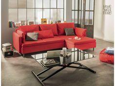 Canapé d'angle fixe droit 4 places RUBIX coloris rouge coussins gris prix promo Canapé Conforama 799.40 € TTC au lieu de 1 139 €.