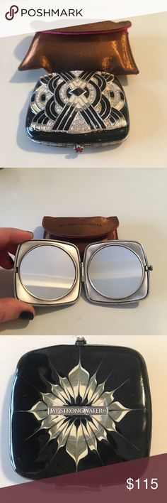 Jay Strongwater Compact Mirror Never used, gorgeous mirrored compact case by Jay Strongwater. Includes mirrored compact and carrying case. Purchased from Newman Marcus. jay strongwater Jewelry