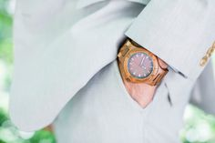 Wood watch, part of the details of the groom