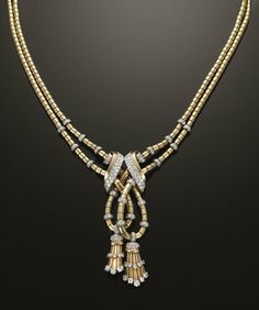 Gold and diamond retro tassel necklace by Mauboussin, c. 1940