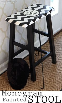 How to make and paint an monogram on furniture. Or just add vinyl decal!
