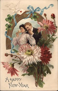 """With the new year on approach, these vintage """"HAPPY NEW YEAR"""" postcard images deserve a second look. What the actual hell was going on with New Years of yore? Party on, vintage people. Vintage Happy New Year, Happy New Year Images, Happy New Year Cards, Vintage Christmas Images, Christmas Art, Victorian Christmas, Vintage Greeting Cards, Vintage Postcards, Vintage Ephemera"""