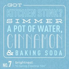Got kitchen stink? Simmer a pot of water, cinnamon and baking soda on the stovetop. #SpringCleaning
