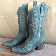 Corral Wings & Cross Turquoise Youth Cowboy Boots A1073