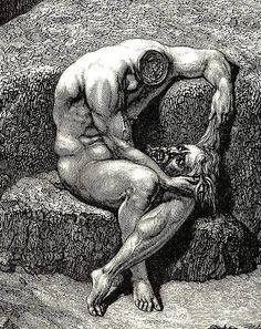 Dante also recounted meeting his father's first cousin, Geri del Bello in The Inferno, Canto XXIX, detail Gustave Doré – Gravure Illustration, Illustration Art, Illustrations, Arte Horror, Horror Art, Norman Rockwell, Dantes Inferno, Arte Obscura, Dante Alighieri