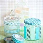 Decorar frascos de vidrio con cinta