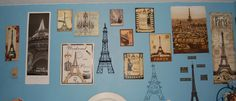 My Paris/Eiffel Tower wall in my bedroom.There is also other Eiffel Tower & Paris stuff around my room,but this is where most of it is.