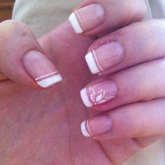 French Manicure With A Flower Nail Art In White