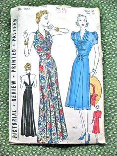 1930s Pictorial Review halter gown sewing pattern.  Rare.  Bust 40 and Hip 43 inches