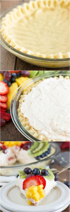 A fresh fruit pie with a sugar cookie crust, a light cheesecake filling, topped with loads of fresh fruit, and lightly glazed with fruit preserves.