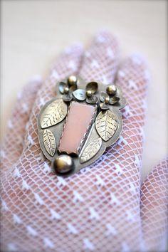 pink opal hydrangea blossom leaf vine ring in sterling silver