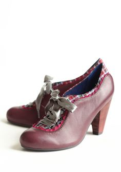 I want them!  Backlash Plum Oxfords By Poetic License 115.99 at shopruche.com. These sophisticated lace-up oxfords are a winter wardrobe essential. We love the combination of the plum leather, purple scalloped trim, and luxurious tweed. Taupe satin laces and a stacked faux wooden heel complete the piece.Padded...