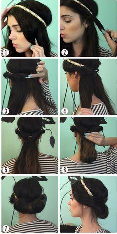coiffure headband cheveux mi longs