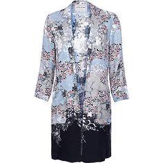 River Island Blue floral print duster coat - jackets - coats / jackets - women