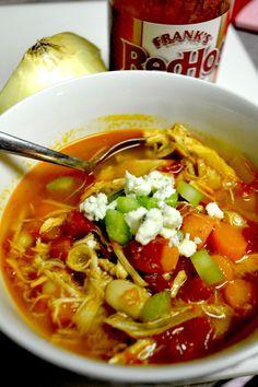 Buffalo Chicken Soup!!!  Tweak a little to make paleo.