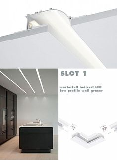 SLOT 1 indirect low profile wall washer extrusion 3m channel 47mm hgh…