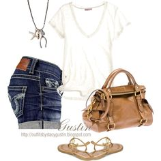 jean shorts, created by stacy-gustin on Polyvore