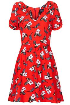 Red Floral Tea Dress From Topshop