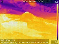 Instituto Geofísico - EPN  Imagen térmica obtenida por la cámara infrarroja instalada en El Copete, el 19 de noviembre; el círculo muestra la ubicación de la anomalía termal observada, en el flanco NW del cono activo.