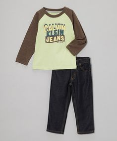Take a look at this Brown 'Calvin Klein' Raglan Tee & Jeans - Infant, Toddler & Boys by Calvin Klein Jeans on #zulily today!