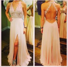 New Arrival Light Pink Prom Dresses,V Neck Prom Dress,Chiffon Open Back Prom Gowns with Lace Applique,Backless Evening Dresses,Side Slit Evening Formal Gown