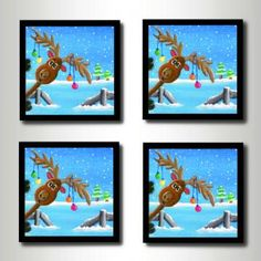 Christmas Coaster Set - Handmade 4 Piece Wooden Coasters With Reindeer Image  by ColourInMotion for $25.00