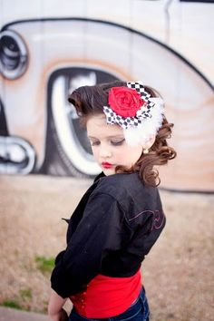 Ayanna Valentina Rockabilly flower hair clip- rockabilly baby girl- rockabilly flower pin up pin up hair clips birthday photography prop. $9.95, via Etsy. Little Diamond Models LDM