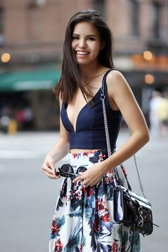 (sheer) Navy crop top with high waisted floral skirt (white)