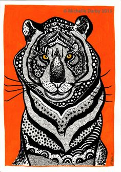 Radiant Tiger Original Print signed by artist by PeasyPea on Etsy