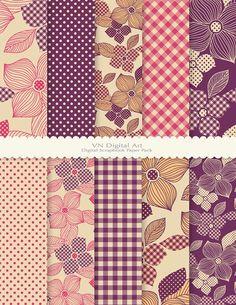 "Digital Paper, Dot & Plaid Flower Digital Scrapbook Paper Pack (8.5x11""-300 dpi) -- Instant Download -- 10 Digital papers -- 407"