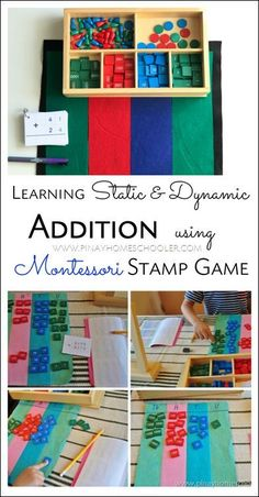 learning how to add using Montessori stamp game