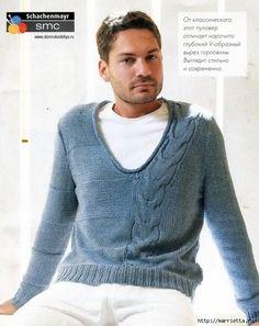 Стильный мужской пуловер спицами