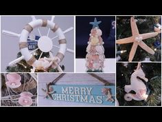Sharing these easy Dollar Tree DIY Coastal DIY's Crafts. Everything is made using Dollar Tree materials. DIY seashell ornaments are the easiest and the salt . Coastal Christmas Decor, Nautical Christmas, Christmas Diy, Merry Christmas, Christmas Decorations, Office Cube, Seashell Ornaments, Tree Toppers, Dollar Tree