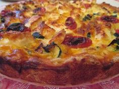 Vegetable Pizza, Quiche, Vegetarian Recipes, Cheese, Vegetables, Breakfast, Food, Morning Coffee, Essen