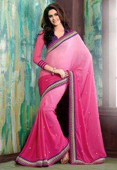 Pink Faux Georgette Saree with Blouse @ $59.66