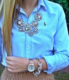 Pairing a statement necklace with a work shirt makes it instantly chic #PremiumOutlets #PremiumStyleTips