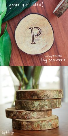 Personalized wooden coasters make a creative wedding gift. Monogrammed log coasters are a wedding gift idea for the bride and groom who has everything. These wood slice coasters are a unique because of the diy look. They are stained and make a personalized wedding gift for outdoorsy couples. They double as wedding decor on a budget, too. Perfect for a garden wedding. Find more garden wedding ideas at sipbitego.com.