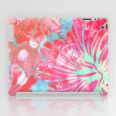 Blue+Water+Hibiscus+Snowfall+iPad+Case+by+Vikki+Salmela+-+$60.00 #iPad #case #tech #accessory #art #vintage #tropical #hibiscus #flowers #pretty #trendy #retro #pink #blues #iPod #society6