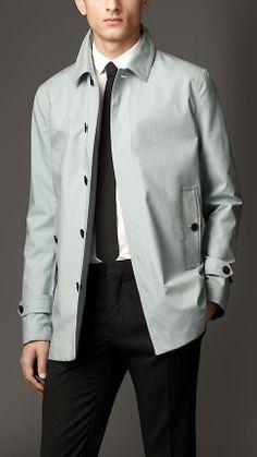 Burberry London Bonded Cotton Rainwear Car Coat