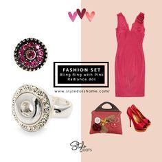 FASHION SET - Bling Ring with Pink Radiance dot