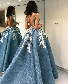 High Low Prom Dress, Lace Prom Dress, Blue - Free l pins High Low Prom Dresses, Cute Prom Dresses, Prom Dresses 2018, Backless Prom Dresses, Elegant Dresses, Pretty Dresses, Beautiful Dresses, Dress Prom, Club Dresses